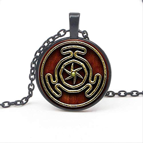 Retro Hecate Symbol Pendant Necklace Glass Round Pendant Jewelry Fashion Gothic Wind Mens Women's Accessories Charm Chain Choker