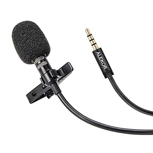 ALEKOR 3.5mm Lavalier Microphone Condenser Clip-on Lapel Mic Wired Microfono for Phone, Computer, and DSLR Camera (9.8 feet)