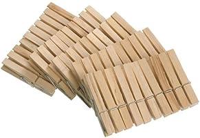 WENKO Wäscheklammern aus FSC® zertifiziertem Echtholz 50-teilig - 50-teilig aus FSC® zertifiziertem Echtholz, Holz, 1 x 7...