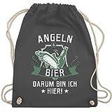 Shirtracer Angeln - Angeln und Bier - Unisize - Dunkelgrau - WM110 - Turnbeutel und Stoffbeutel aus...