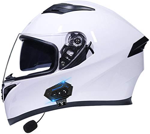 STRTG Bluetooth Integrado Casco de Moto Modular con Doble Visera Adultos Unisex Casco Anticolisión para Adultos para Respuesta Automática Dot/ECE Homologado P,M(55~57cm)