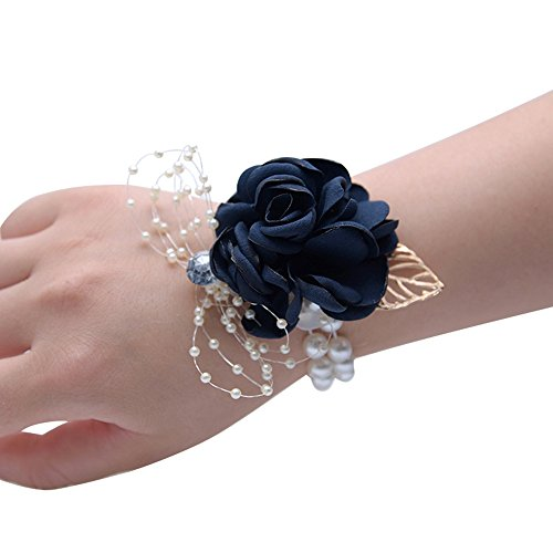 Florashop Satin Rose Wedding Bridal Corsage Bridesmaid Wrist Flower Corsage Flowers Pearl Bead Wristband for Wedding Prom Party Homecoming 2 pcs-Navy Wrist Corsage