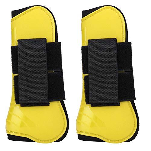 HEEPDD - Scarponi da cavallo per cavallo, 1 paio di stivali per proteggere le gambe e tendini per cavallo, attrezzatura per saltare, equitazione, eventi, dressage (giallo)