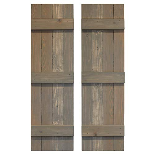 LTL Home Products SHP63 Exterior Solid Wood Raised Panel Window Shutters Unfinished Pine 15 x 63 Inches