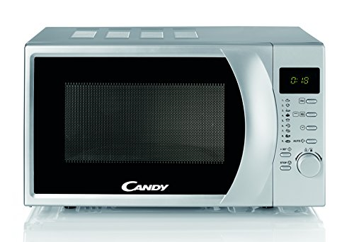 Candy CMG 2071 DS Microondas con grill, Capacidad 20L, Display digital, 9 Programas Automáticos, Plato giratorio 24,5cm, 700W-900W, 700 W, 20 litros, Stainless Steel, Silver
