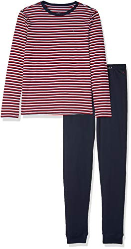 Tommy Hilfiger Jungen LS Set Stripe Zweiteiliger Schlafanzug, Weiß (White/Navy Blazer 103), 152 (Herstellergröße: 10-12)