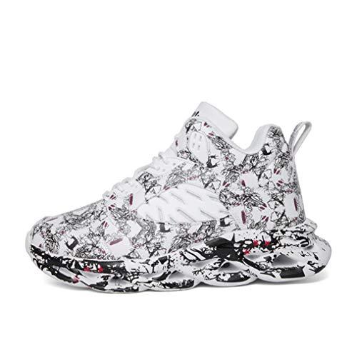 Zapatillas de Deporte con Cordones para Hombre Zapatillas de Baloncesto de Graffiti con amortiguación Superior Alta Zapatillas de Deporte cómodas y Transpirables para Correr al Aire Libre