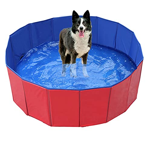 Piscina plegable para mascotas y gatos, portátil, para perro, para baño, para gatitos, bañera, de PVC, para gatos, cachorros, mascotas, jardín al aire libre (100 x 30)