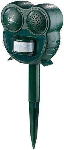 Royal Gardineer Katzenabwehr: Ultraschall-Tierschreck mit LED-Leuchte und PIR-Bewegungsmelder, 70 m² (Katzenscheuche)
