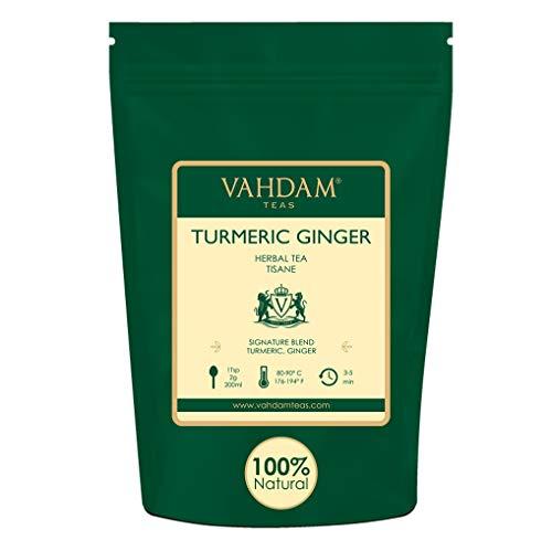 VAHDAM, Kurkuma-gember kruidenthee loose leaf | Set van 2 stuks à 100 g (100 kopjes) | Indiase wonderkruid | Kurkuma-thee & gember thee | 100% natuurlijke tisanhee | Bruid als hete of ijsthee