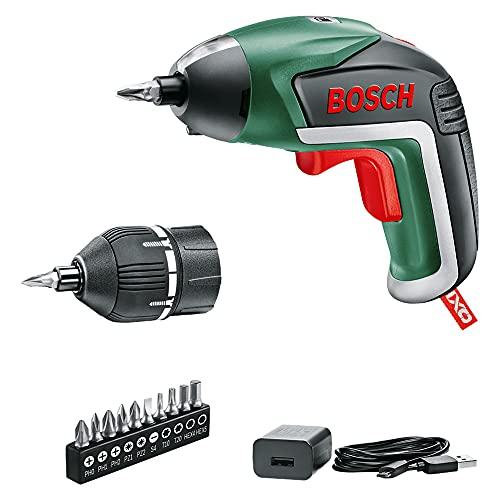 Bosch Home and Garden 06039A800U Bosch Atornillador IXO (5.ª generación, batería integrada de 3,6V, Accesorio de par de Giro, 10 Brocas, Cargador USB, en Caja) -Amazon Edición, Classic Green