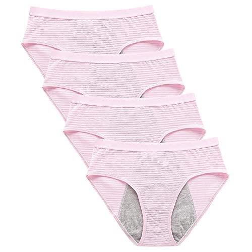 DOSN - Braguitas para mujer, antifugas, lavables, ropa interior para mujer, 4 unidades