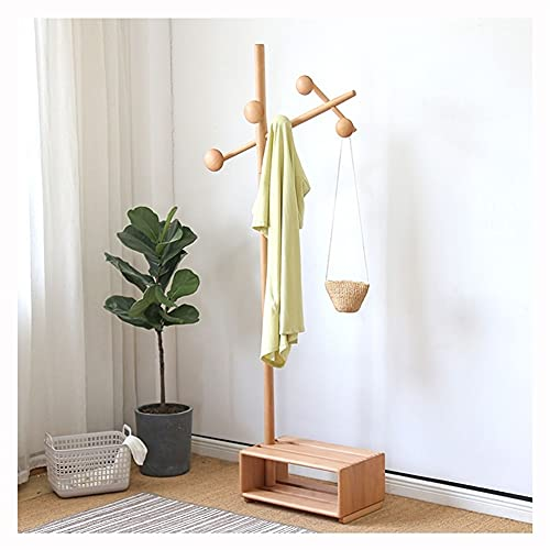 LZL Talladora de Abrigo de Madera, árbol de salón 3 en 1, Soporte de Capa de Banco de Zapatos de Entrada, estantes de Almacenamiento, Soporte de Capa de pie para Abrigo Sombrero Abrigo Rack árbol