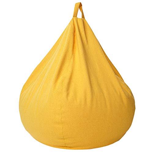 AMGJ Premium Sitzsack Bezug Hülle(ohne Füllung), Sitzsackhülle Abdeckung für Erwachsene, Kinder, Jugendliche,Gelb,90x110cm