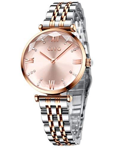CIVO Uhr Damen Rosegold Armbanduhr Damen Analog Quarz Armbanduhr mit Edelstahlarmband Wasserdicht Damenuhr Designer Uhren Damen Sale Mode Business Elengate Uhren Damen Uhren Frauen Geschenk