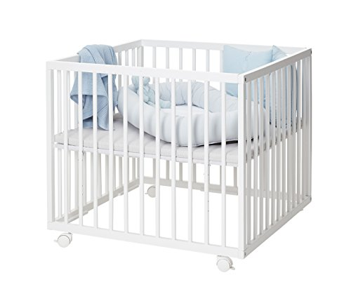 BabyDan Medium Wooden Playpen, White