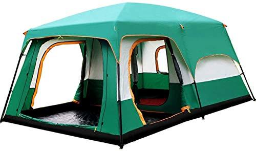 ZJDU Tiendas de campaña para Acampar Tent Familia Cabaña Tienda 8-12 Persona Base Senderismo Camping Refugio al Aire Libre para Pesca de mochilero (Color: Verde, Tamaño: Un tamaño)