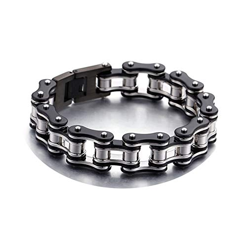 KnBoB Titanstahl Herren Herren Schwarzes Silber Bikerkette Armband