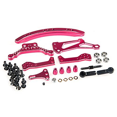 Zhusha Juego de dirección de Pista Deslizante Curva de Aluminio Sakura D4 RWD para Piezas de Coches RC 1/10, Piezas de Repuesto de Color Rosa (Color: Rosa) ( Color : Pink )