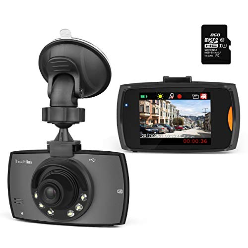 """Trochilus Dash Cam 2.4""""Screen HD 720P, IR night vision lights, 120°Wide Angle Lens Car Camera, Loop Recording Dashboard Cam, 8 GB micro SD card included"""