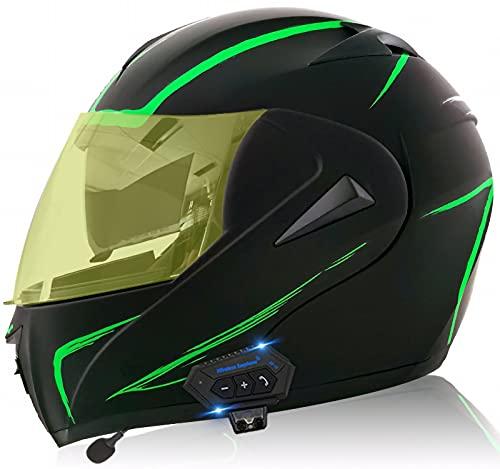 TKTTBD Casco De Moto Modular Bluetooth Integrado con Un Micrófono Incorporado Anti Niebla Visera Doble ECE/Dot Homologado Adultos Hombres Mujeres Cascos Moto H,S (55~56 cm)
