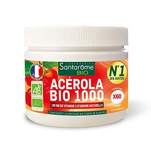 Santarome Bio Acérola Bio 1000   Complément Alimentaire Tonifiant   Pot de 60 Comprimés