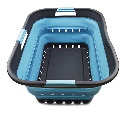 SAMMART - Cesto portabiancheria, in plastica, pieghevole, con 3 manici, portatile, salvaspazio (1, grigio/azzurro chiaro)
