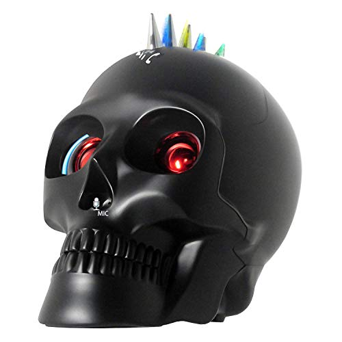 Bluetooth Skull Speaker with Wireless Device and Mic Calling for iPhone11 XR/Xs,iPad,Samsung Android Phone Halloween Decor Gift(Matt Black)