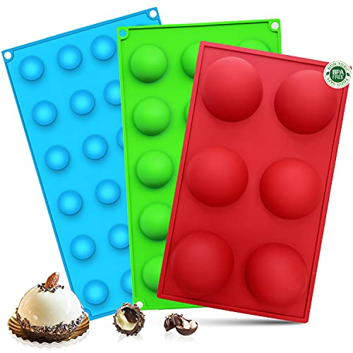 Eddeas Semi Sphere Silicone Chocolate Molds, 3 Pack Half Sphere Silicone Baking Molds for Making Jelly, Chocolate, Cupcake & Pudding, Food Grade & PBA Free (6 Cups, 15 Cups & 24 Cups)
