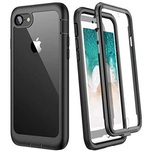 WE LOVE CASE Hülle für iPhone 7, iPhone SE 2020 Hülle, Stoßfest Handyhülle 360 Grad Rugged Schutzhülle mit Eingebautem Displayschutz Transparent Cover für iPhone 7/8, Schwarz