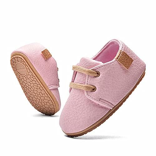 MrToNo Krabbelschuhe Leder Lauflernschuhe Mädchen Jungen Babyschuhe 0-6 Monate 6-12 Monate 12-18 Monate Weiche Lederpuschen Lernlaufschuhe Baby Hausschuhe-FENSE-6-12M