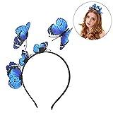 outgeek Party Stirnband, Frauen Mädchen Schmetterling Krone Haarschmuck Haarreif Kopfschmuck Stirnband Haarband Kopfbedeckung für Hochzeit Party (Blau)