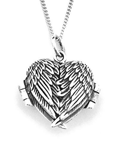 Chaîne de 45,7 cm avec médaillon ailes d'ange en forme de cœur qui s'ouvre en 3 parties - Argent sterling 925