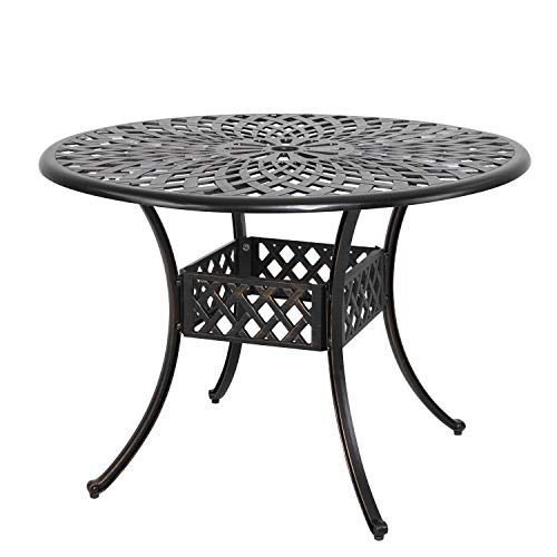 Nuu Garden 42 Inch Outdoor Round Patio Bistro Table, Cast Aluminum Outdoor Dining Table with Umbrella Hole,Antique Bronze