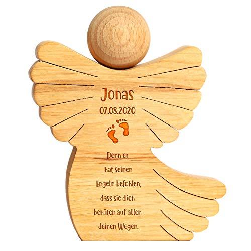 FORYOU24 Holzengel mit Gravur Motiv 01 - mit Name und Datum personalisiert - zur Taufe - Verpackung für Geldgeschenke - Maße: 15x12x2,6cm - Taufgeschenk