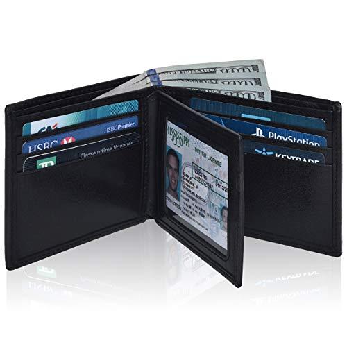 Black Leather Wallets for Men Smart Minimalist Design Front Pocket RFID Wallet