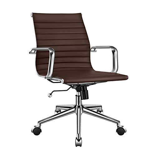 LUXMOD Gold Office Chair in Black Leather, Mid Back Office Chair with Armrest, Black and Gold Ergonomic Desk Chair for Back Support, Modern Executive Chair Black and Gold,Gold Swivel Chair Black