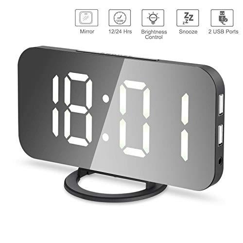 ROSEBEAR LED Wiederaufladbarer Wecker Dimmbare Helligkeit Spiegeluhr für Schlafzimmer Büro Hotel. (6 5 Zoll Weiß)