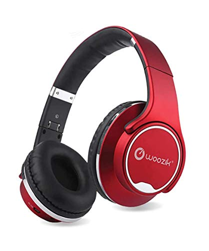 Woozik Twist Wireless Headphones Over-Ear 2 in 1 Foldable Twist-Out Speaker Wireless Headphone with NFC FM Radio/AUX/SD Card Sports Headband Headset-(Red)