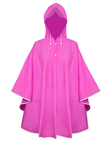 Aibrou Damen Transparent Regenponcho Regenjacke aus Eva wasserdichte Trenchcoat Parka Regenkleidung Regencape Pink