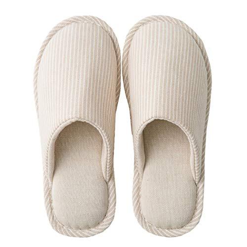 MAYI Pantofole Donna Invernali Memory Foam Antiscivolo Ciabatta da Lino & Cotone Soft Home Slippers Indoor Ciabattine, Beige, 38/39 EU (40/41 fabbricante)