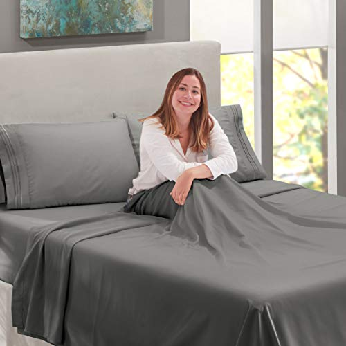 Nestl Bedding Soft Sheets Set - 4 Piece Bed Sheet Set, 3-Line Design Pillowcases - Easy Care, Wrinkle Free - Good Fit Deep Pockets Fitted Sheet - Free Warranty Included - Queen, Gray