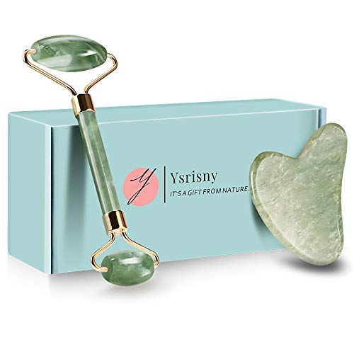 Ysrisny Jade Roller for Face and Gua Sha Set Face Roller Natural Jade Stone for Anti Aging,Eye Puffiness Wrinkles,Skincare Massage Tools for Face Eyes