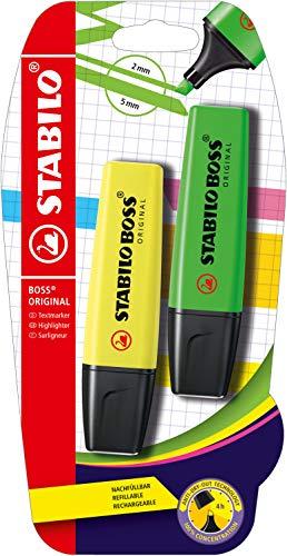 Evidenziatore - STABILO BOSS ORIGINAL - Pack da 2 - Giallo/Verde