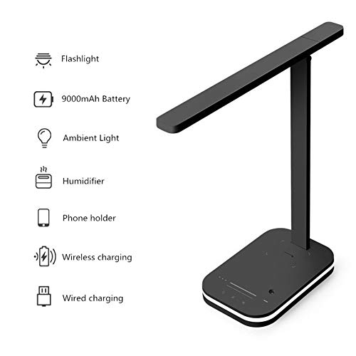 Lámpara De Escritorio LED Inteligente Lámpara De Mesa Para El Cuidado De Los Ojos Batería De Gran Capacidad De 9000 MAh Con Cargador Inalámbrico Y Humidificador Para Lectura De Estudio De Oficina