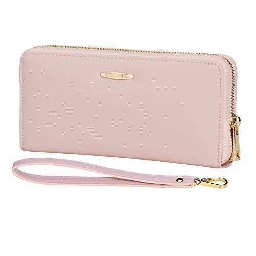 COCASES Damen Geldbörse XXL Größe aus weichem Kunstleder mit RFID Schutz und Schlaufe Pink