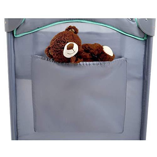 KINDEREO Comfort Plus Babybett Wickelauflage Laufstal Reisebett Kinderreisebett Kinderbett Klappbett für Kinder und Babys mit Zubehören (Grau-Minze) - 7