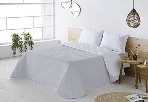 BOHEME Colcha Ligera Multiusos Reversible Lisa Color Blanco/Gris Cama 150 cm