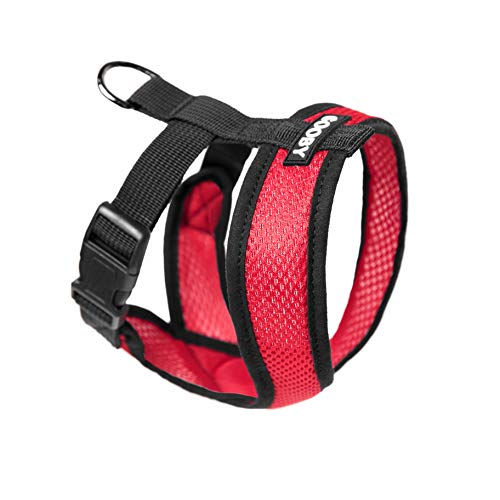 Gooby - Comfort X Head-In Harness, Choke Free Small Dog Harness met Micro Suede Trimming en gepatenteerde X Frame, Medium (9-15 lbs), rood