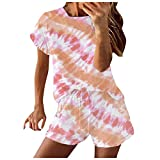 Sunhusing Womens Casual 2 Piece Short Sleeve Outfits Sets Summer Active Tracksuits Plus Size Sunflower Print Daily Outfit Set Pink